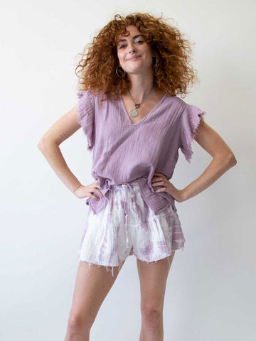 Ruffle Sleeve Top In Lavender Grey