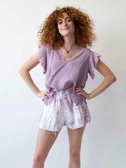 STARKx V Shorts In Lavender Grey Tiedye, view 3, click to see full size