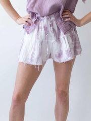 STARKx V Shorts In Lavender Grey Tiedye, view 1, click to see full size