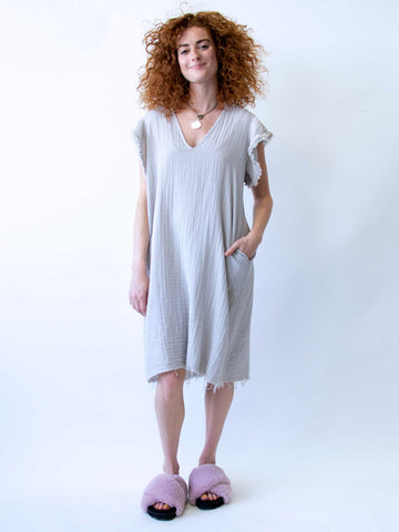 STARKx Ruffle Sleeve Dress In Pearl Grey