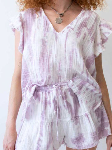 Ruffle Sleeve Top In Lavender Grey Tiedye