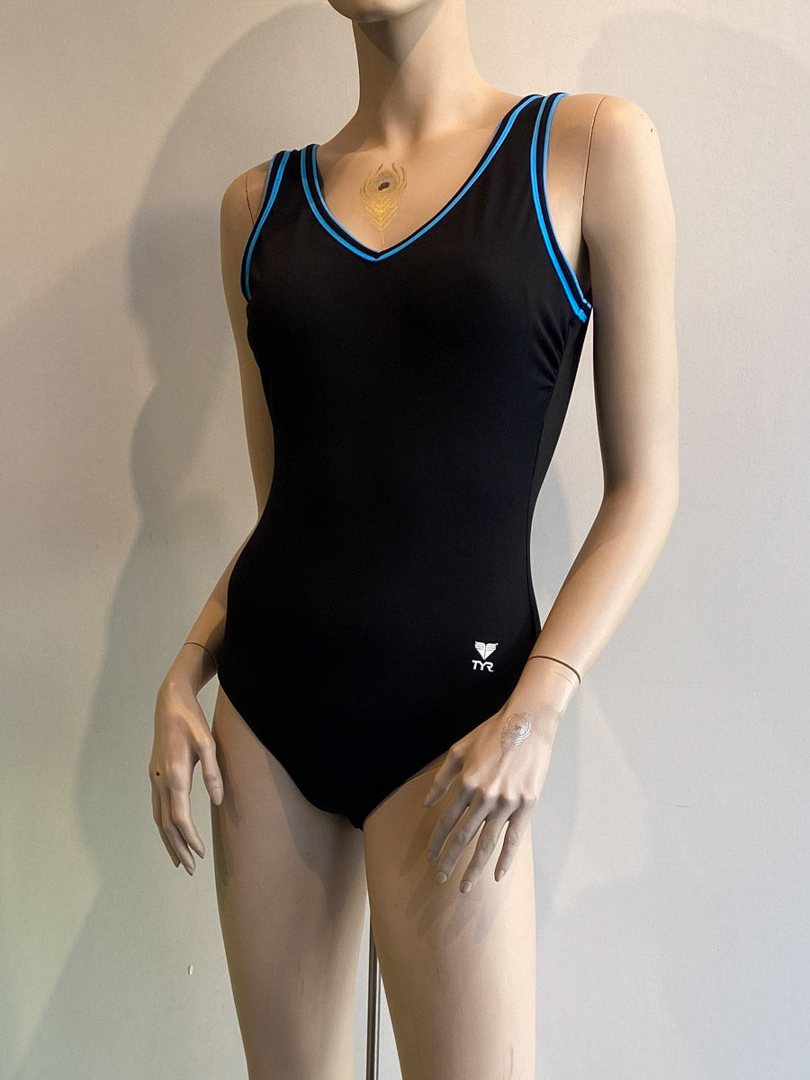 TYR One Piece V Neck V Back Black/Turquoise