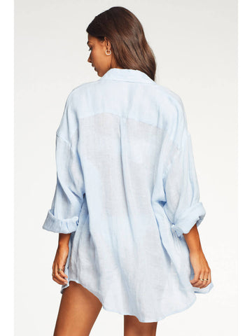 Vitamin A Playa Shirt Dress EcoLinen Celeste
