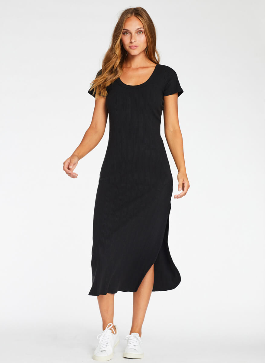 Vitamin A Catalina Tee Dress in Black Organic Rib