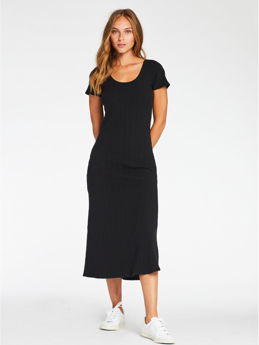 Catalina Tee Dress in Black Organic Rib