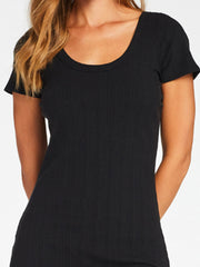 Vitamin A Catalina Tee Dress in Black Organic Rib, view 2, click to see full size