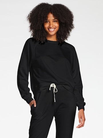 Vitamin A Cora Fleece Top in EcoSoft Black