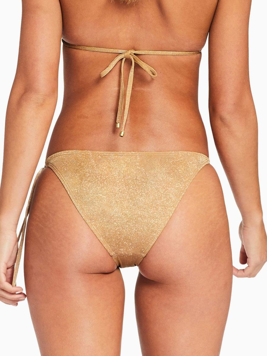 Vitamin A Elle Tie Side Bottom in Golden Glow Metallic