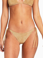 Vitamin A Elle Tie Side Bottom in Golden Glow Metallic, view 1, click to see full size