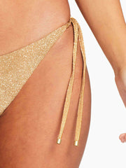 Vitamin A Elle Tie Side Bottom in Golden Glow Metallic, view 3, click to see full size