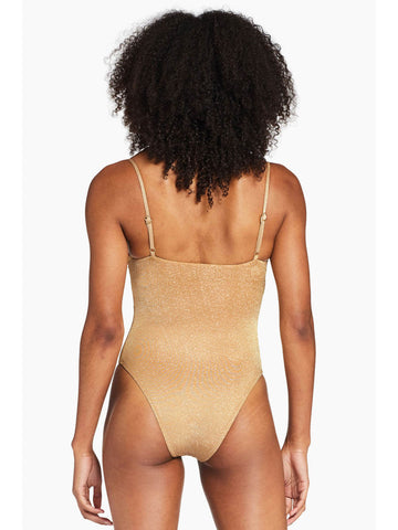 Vitamin A Jenna Bodysuit in Golden Glow Metallic