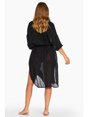 Vitamin A Playa Dress in Black EcoLinen