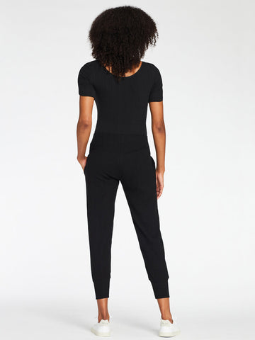 Vitamin A West Pant in Black Organic Rib