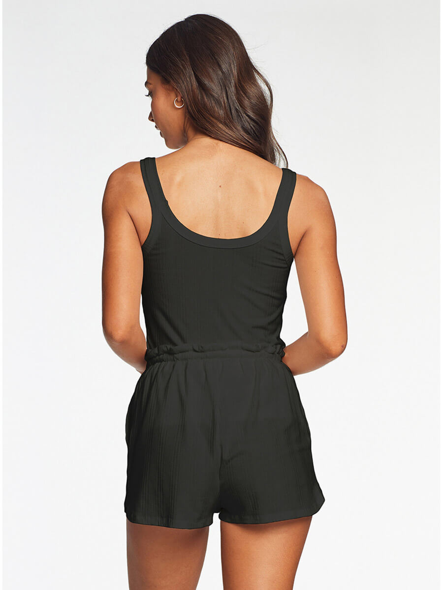 Vitamin A Thalia Shorts in Black Organic Rib