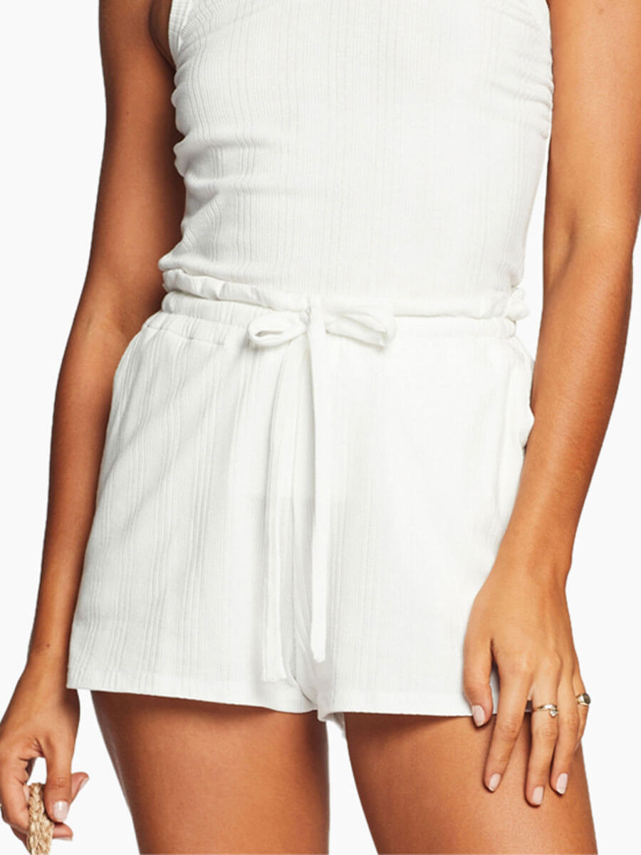 Vitamin A Thalia Shorts in White Organic Rib