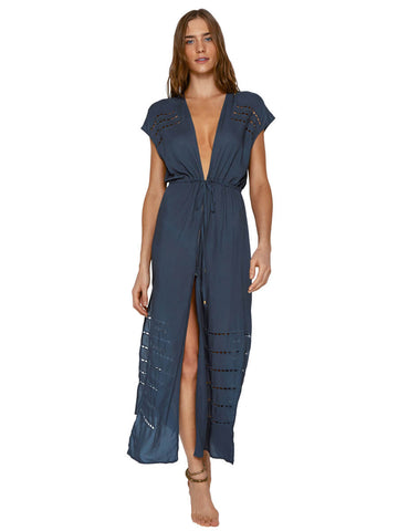 ViX Embroidery Pamela Caftan Blue Grey