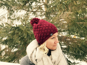 ST Hand Knit Toque (BURGUNDY) by Sherri-Lynn