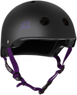 S1 LIFER BLACK MATTE PURPLE STRAPS HELMET