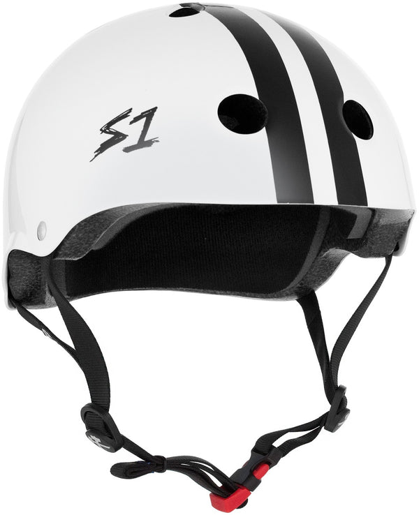 S1 MINI LIFER WHITE GLOSS BLACK STRIPES HELMET