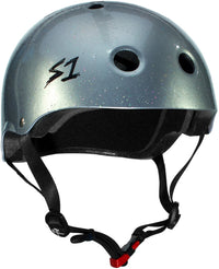 S1 MINI LIFER SILVER GLOSS GLITTER HELMET