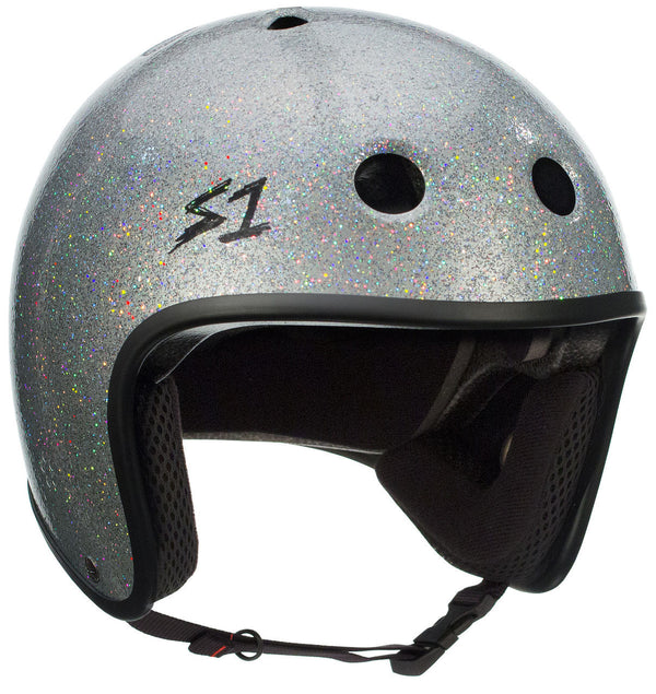 S1 RETRO LIFER SILVER GLOSS GLITTER HELMET