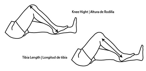 how to measure knee height tibia length