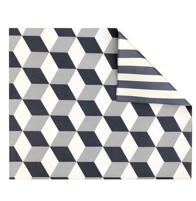 Grey Geo/Stripe Play Mat - Shipping Late December - The Pieces Play Company