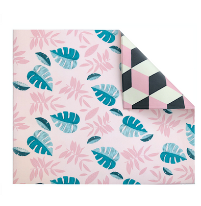 Pink Leaf/Geo Play Mat - The Pieces Play Company