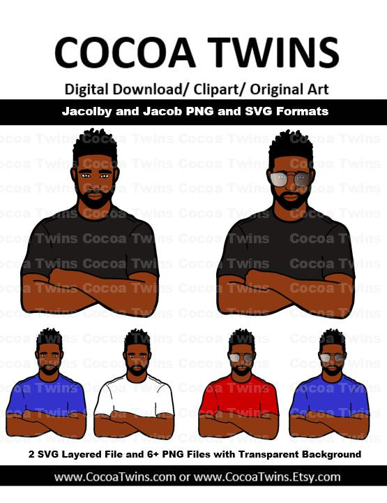 Digital Download  -  Jacob and Jacolby - SVG Layered File and PNG File Format