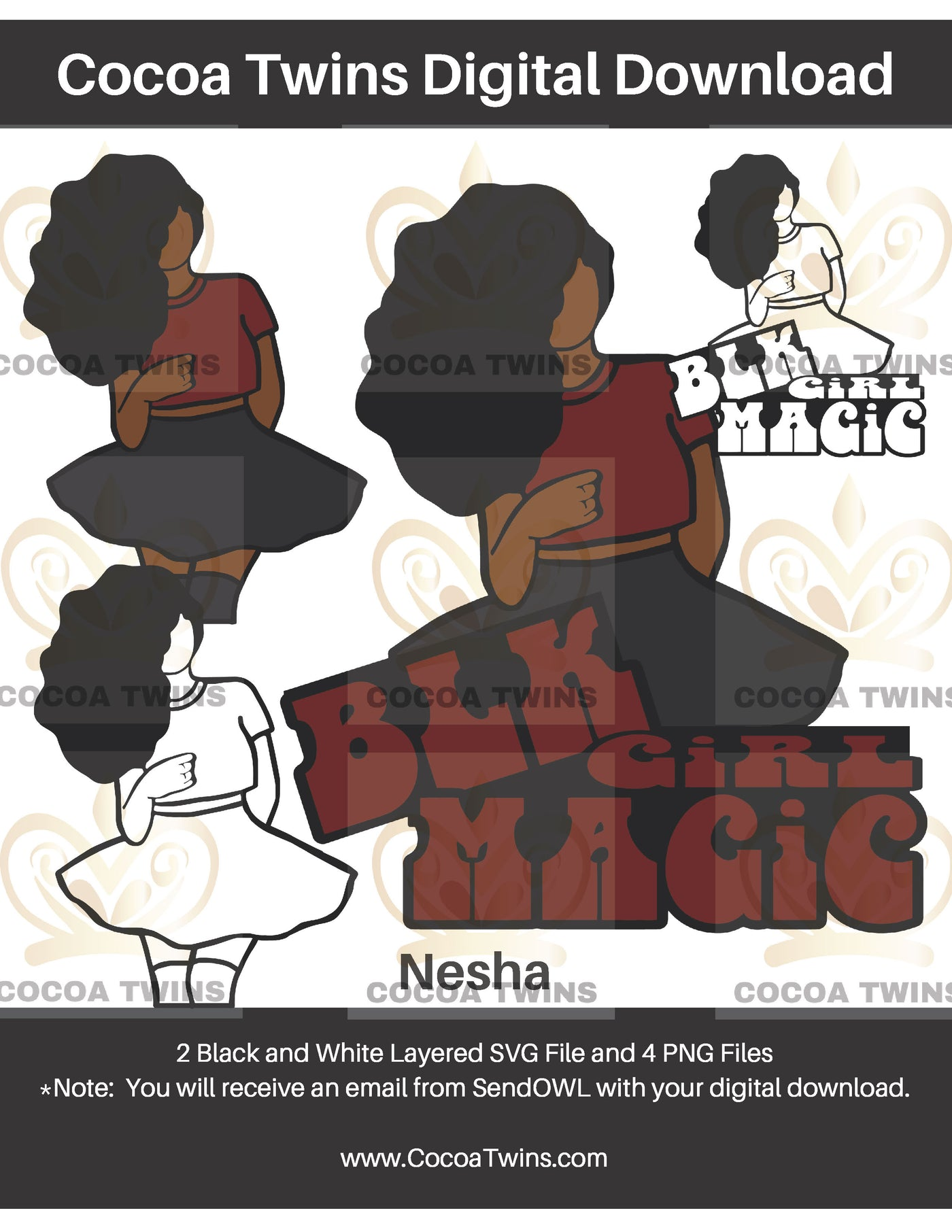 Digital Download  -  Nesha - SVG Layered File and PNG File Format - Cocoa Twins