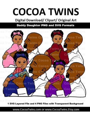 Digital Download - Daddy Daughter - SVG Layered File and PNG File Format