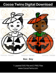 Digital Download  - Boo (Boy) - SVG Layered File and PNG File Format - Cocoa Twins
