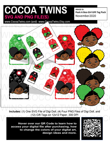 Digital Download  - Holiday Pack Tags - Peek A Boo Girl