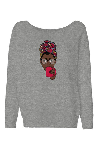 Avah Red Pat | Wide Neck Sweatshirt | H
