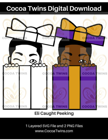 Digital Download  - Eli Caught Peeking - SVG Layered File and PNG File Format - Cocoa Twins