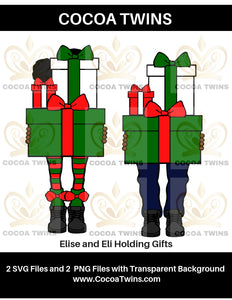 Digital Download  - Elise and Eli Holding Gifts - SVG Layered File and PNG File Format - Cocoa Twins