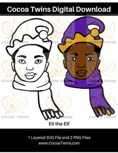 Digital Download  - Eli Elf - SVG Layered File and PNG File Format - Cocoa Twins