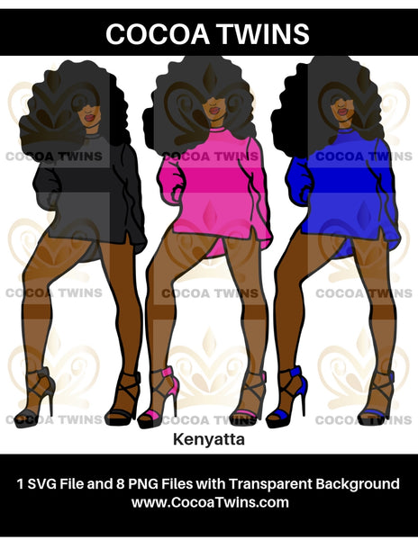 Digital Download  - Kenyatta - SVG Layered File and PNG File Format - Cocoa Twins
