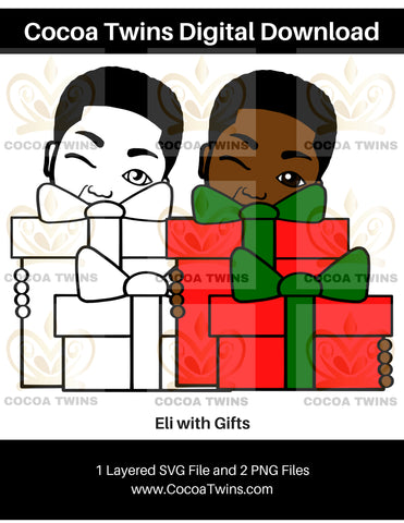 Digital Download  - Eli with Gifts - SVG Layered File and PNG File Format - Cocoa Twins