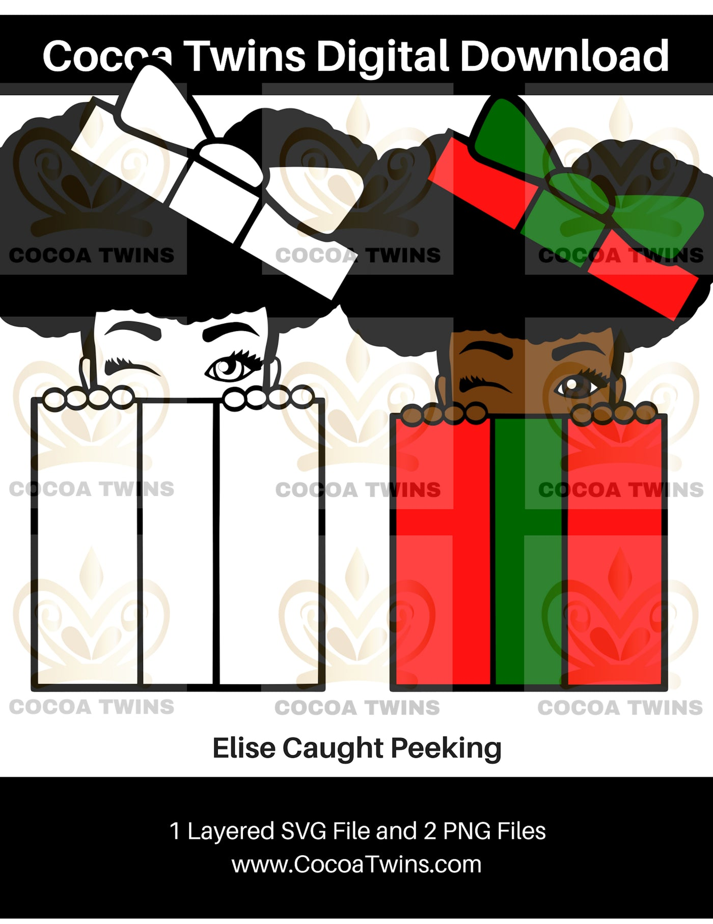 Digital Download  - Elise Caught Peeking - SVG Layered File and PNG File Format - Cocoa Twins