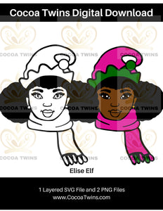 Digital Download  - Elise Elf - SVG Layered File and PNG File Format - Cocoa Twins