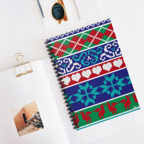 01E Cocoa Twins Ugly Sweater Spiral Notebook - Ruled Line
