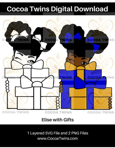 Digital Download  - Elise with Gifts - SVG Layered File and PNG File Format - Cocoa Twins
