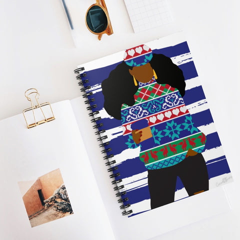 01A Cocoa Twins Ugly Sweater Spiral Notebook - Ruled Line