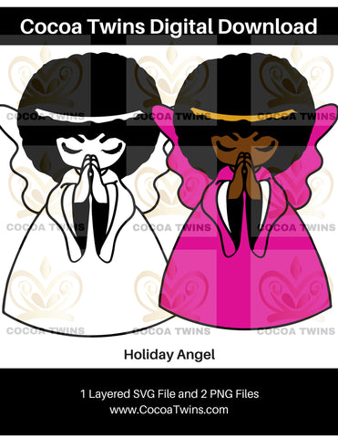 Digital Download  - Holiday Angel - SVG Layered File and PNG File Format - Cocoa Twins