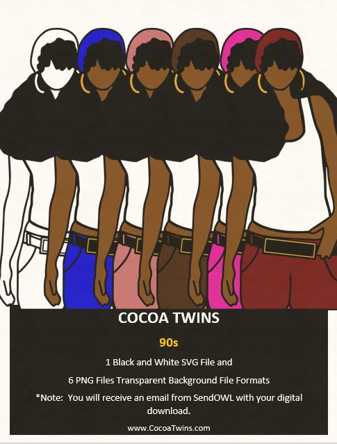 Digital Download  -  90s - SVG Layered File and PNG File Format - Cocoa Twins
