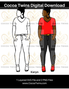 Digital Download  - Karyn - SVG Layered File and PNG File Format - Cocoa Twins