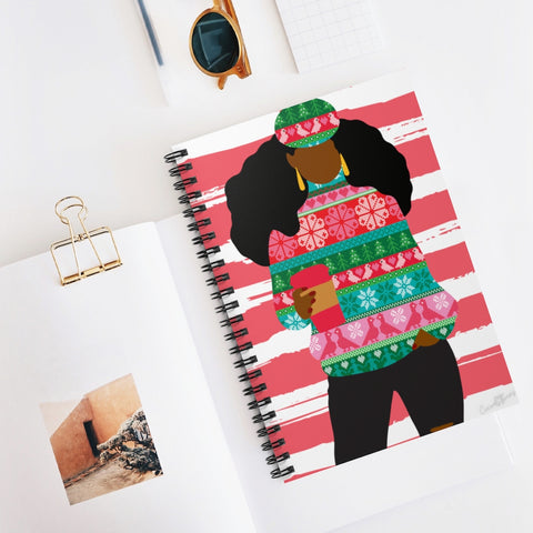 02A Cocoa Twins Ugly Sweater Spiral Notebook - Ruled Line