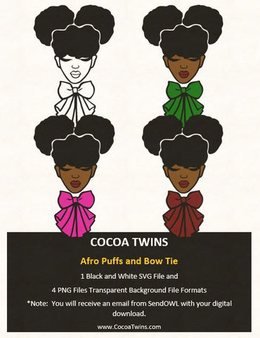 Digital Download  -  Afro Puffs and Bow Tie - SVG Layered File and PNG File Format - Cocoa Twins