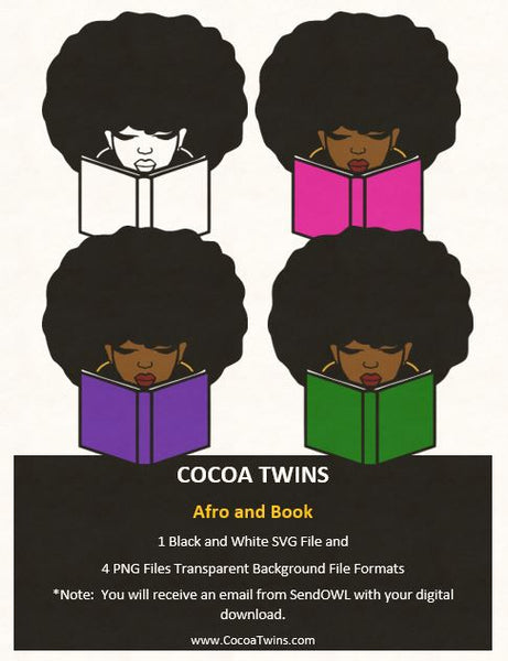 Digital Download  -  Afro and Book - SVG Layered File and PNG File Format - Cocoa Twins
